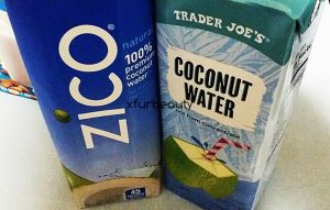 Coconut water for electrolytes after a good post-workout!