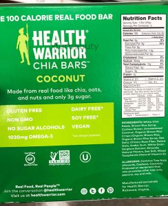 Health Warrior Chia Coconut Bars, Nutrition Facts