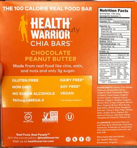 Health Warrior Chia Chocolate Peanut Butter Bars, Nutrition Facts