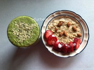 My oatmeal with my green smoothie.