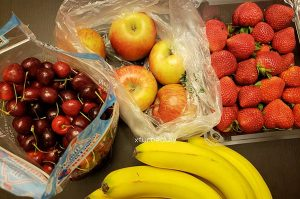 Carbs are good for you. Cherries. Apples. Strawberries. Bananas.