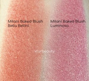 Swatches: Milani Baked Blush Bella Bellini (left), Luminoso (right)