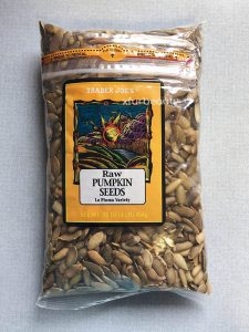 A bag of Trader Joe's Raw Pumpkin Seeds
