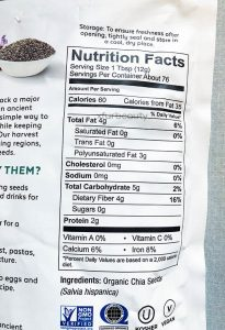 Viva Naturals Organic Chia Seeds, Nutrition Facts & Ingredients