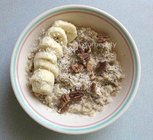 Banana, Pecans, Coconut Shreds with a dash of Pink Celtic Sea Salt