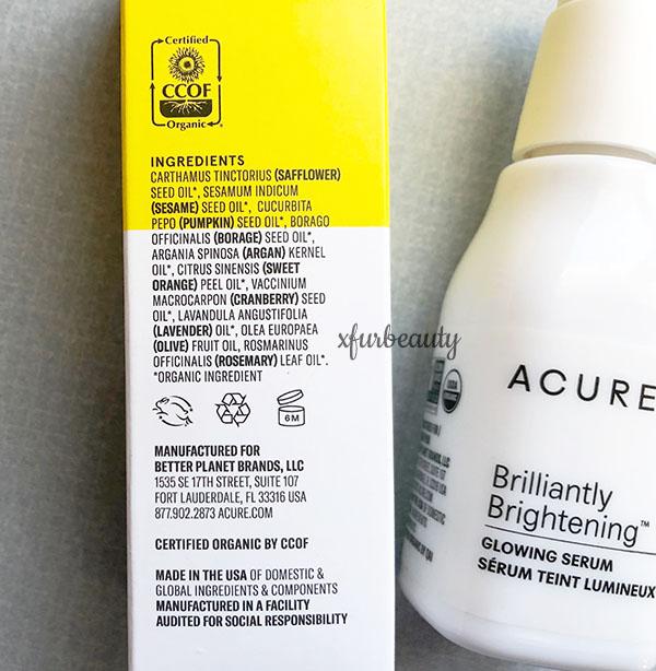 Acure Brightening Glowing Serum Ingredients