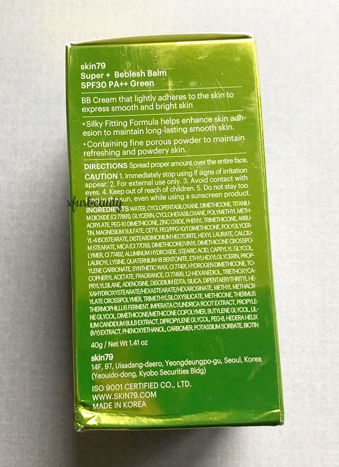 Skin79 Green BB Cream Ingredients